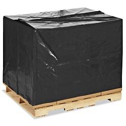 Plastic pallethoezen zwart EURO - 125 x 44/44 x 150cm x 70my (50 st)