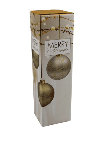 Flessen verzenddozen Kerst Gold - 95 x 95 x 330mm - 1 fles (10 st)