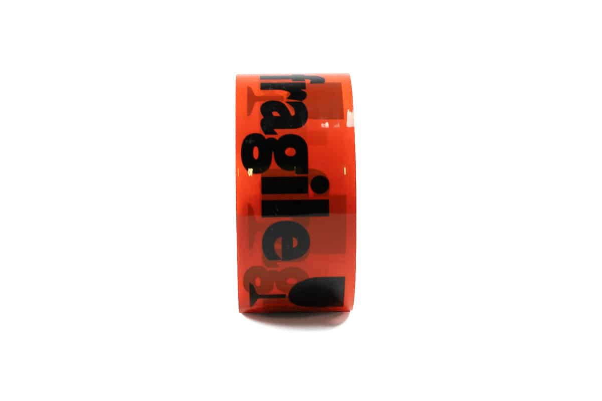 PP acryl waarschuwingstape ''breekbaar'' oranje - 50mm x 66m (12 st) + dispenser