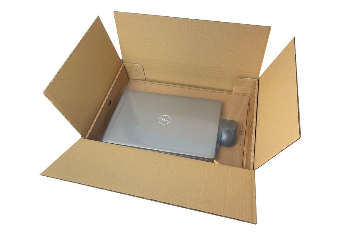 Kartonnen laptop verzenddoos met fixeertray - 500 x 350 x 110 (dubbele golf)