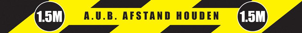 Sticker 'A.U.B. afstand houden' geel/zwart - 5x100 cm (4 st)