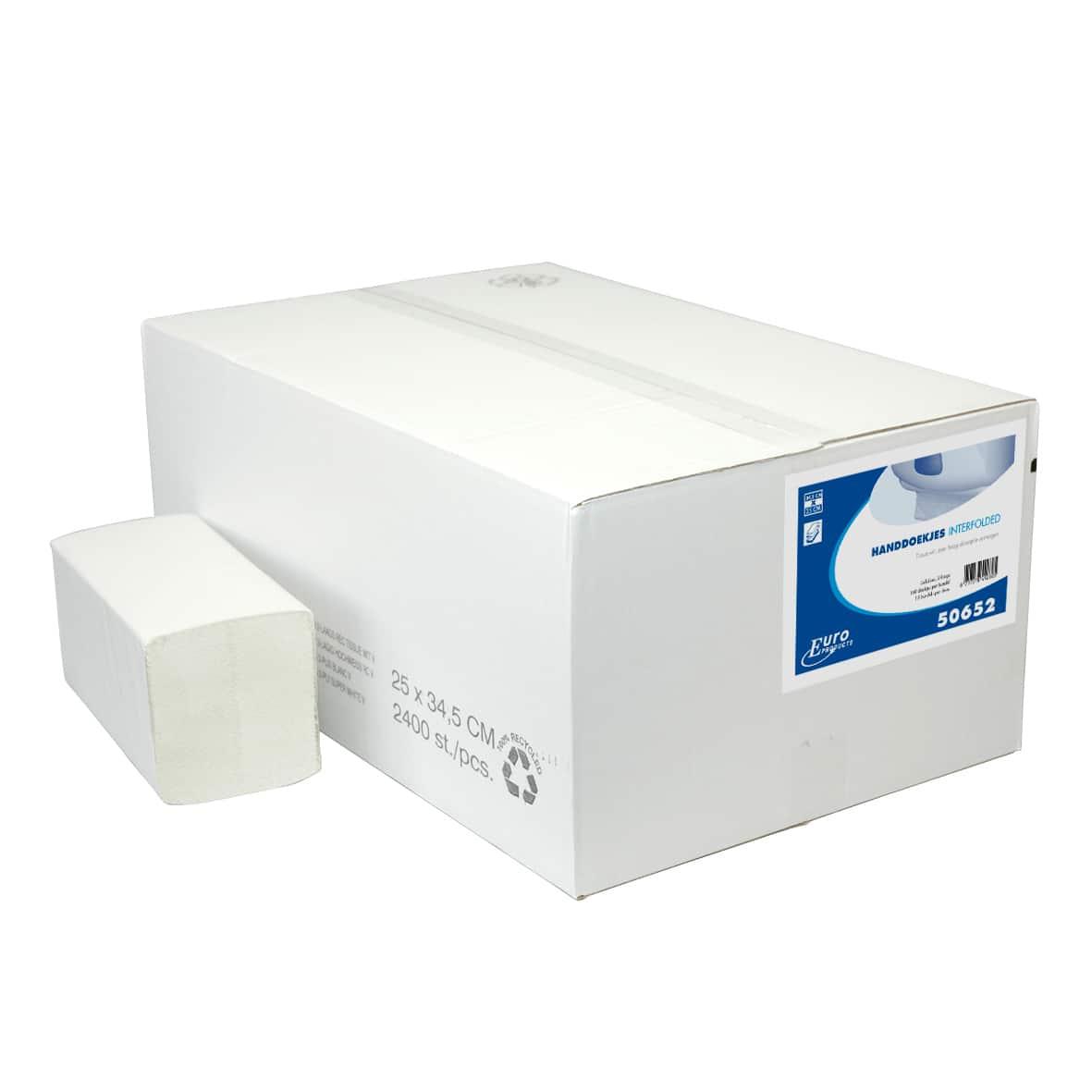Papieren handdoek Z-vouw wit 2-laags - 21 x 24cm