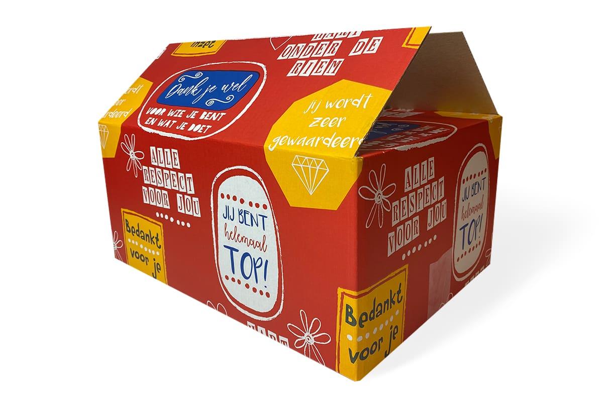Kartonnen geschenkdoos rood ''bedankt'' -  390 x 290 x 177mm