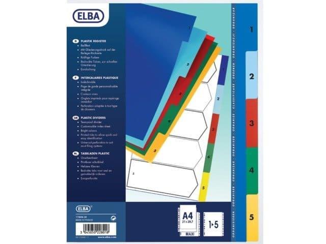 Elba kunststof tabbladen gekleurd - 11 rings