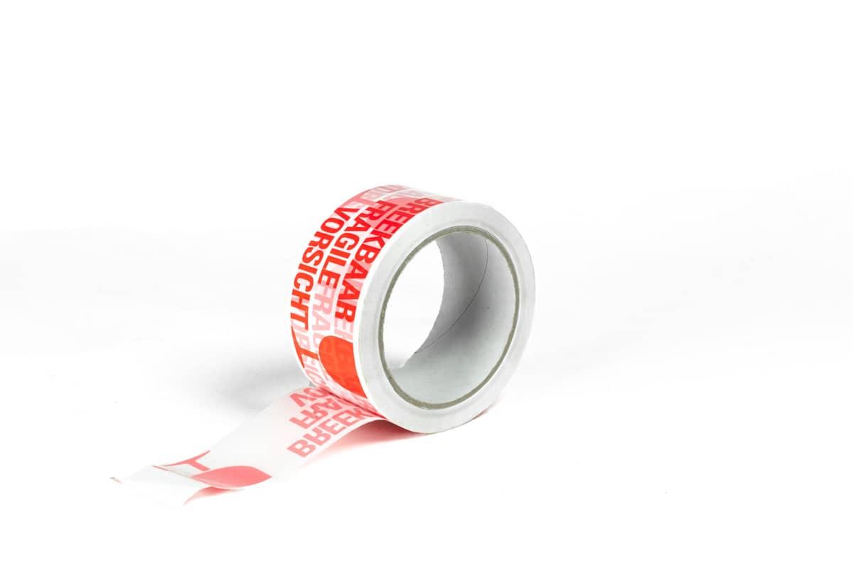 PP Hotmelt waarschuwingstape 'breekbaar' rood-wit - 50mm x 66m (6 st) + dispenser