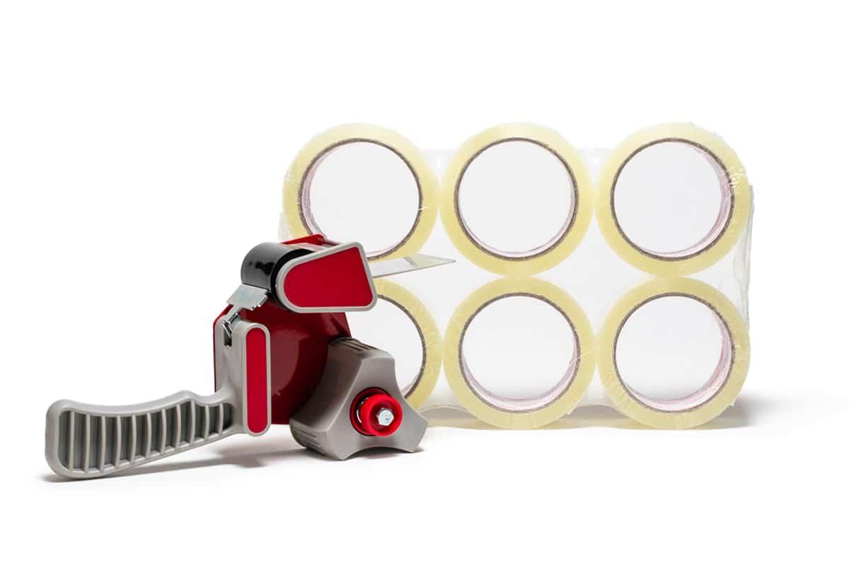 Tape dispenser + 6 rollen PP acryl tape transparant - 50mm