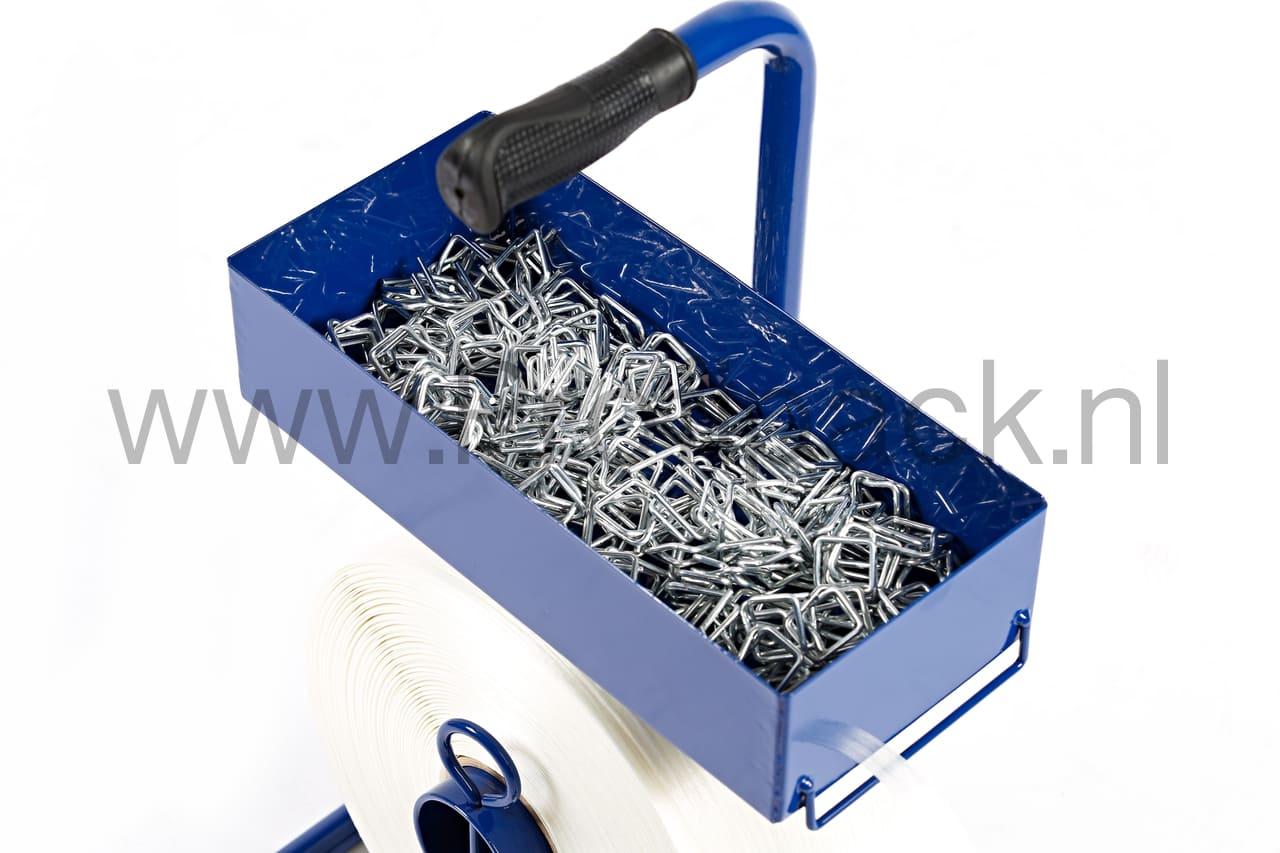 Polyesterband haspel draagbaar blauw