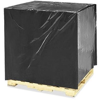 Plastic pallethoezen zwart BLOK - 130 x 52/52 x 160cm x 70my (50 st)