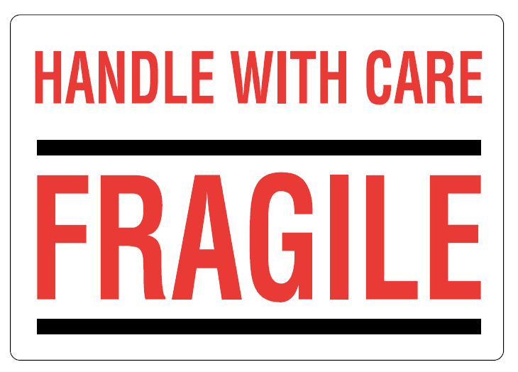 """Waarschuwingsetiketten """"Handle with care - Fragile"""" - 70 x 100mm (500 st)"""