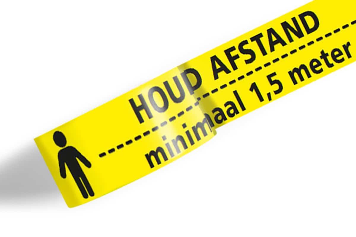 Vloermarkeringstape 'houd 1,5 meter afstand' 33m - geel (3 rol)