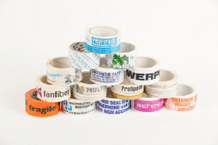 Bedrukte PP acryl tape - 50mm x 66m (3 kleuren)