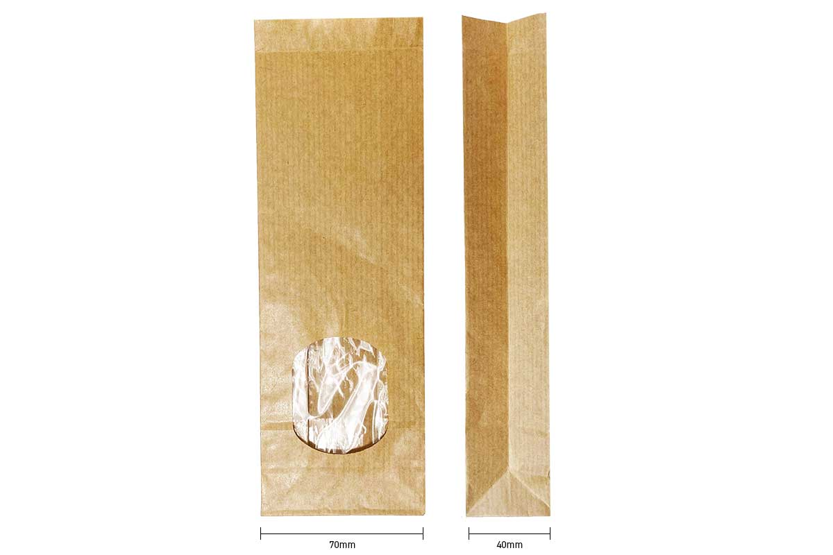 Blokbodemzakken kraft met venster - 70 x 40 x 205mm (100 st)