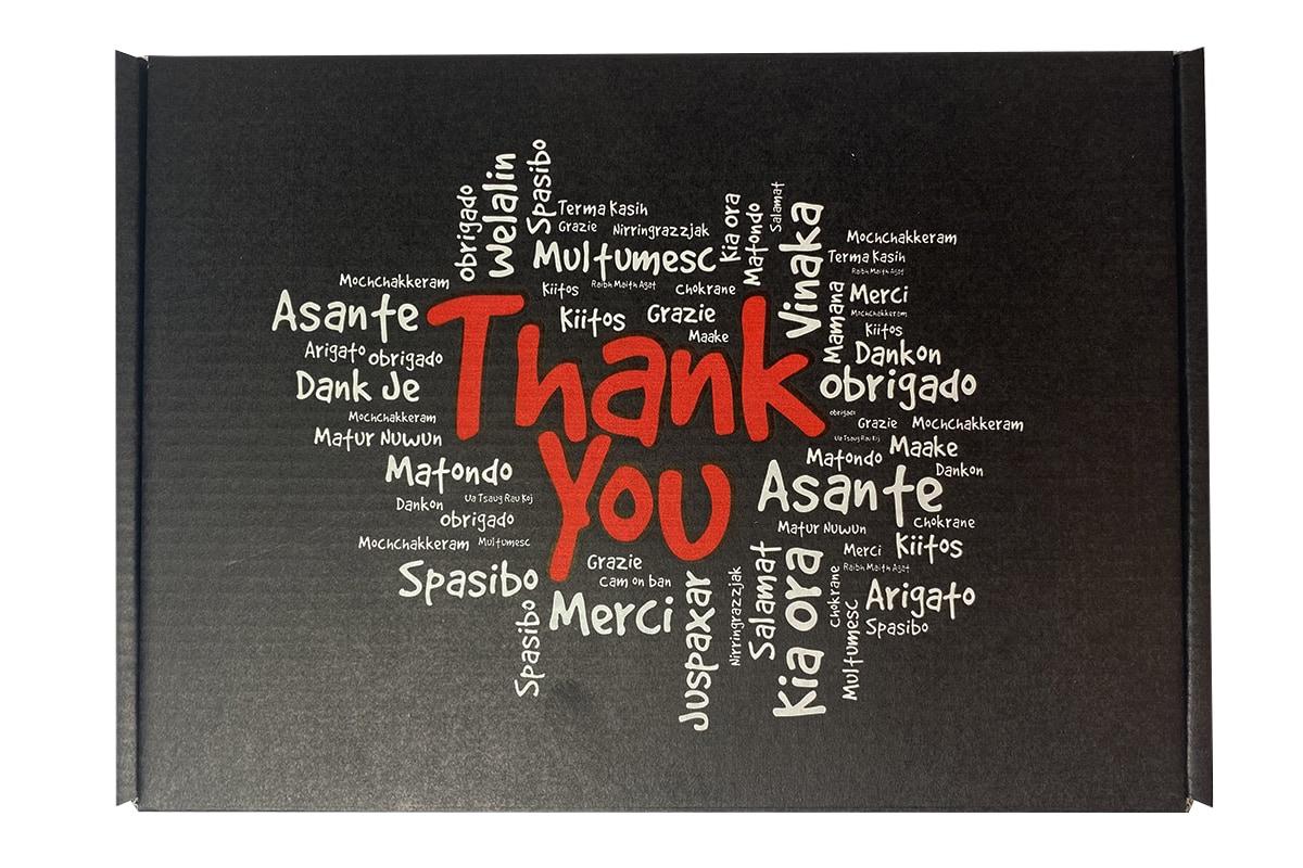 Brievenbus doosje zwart ''Thank you'' - 220 x 160 x 28mm (A5)