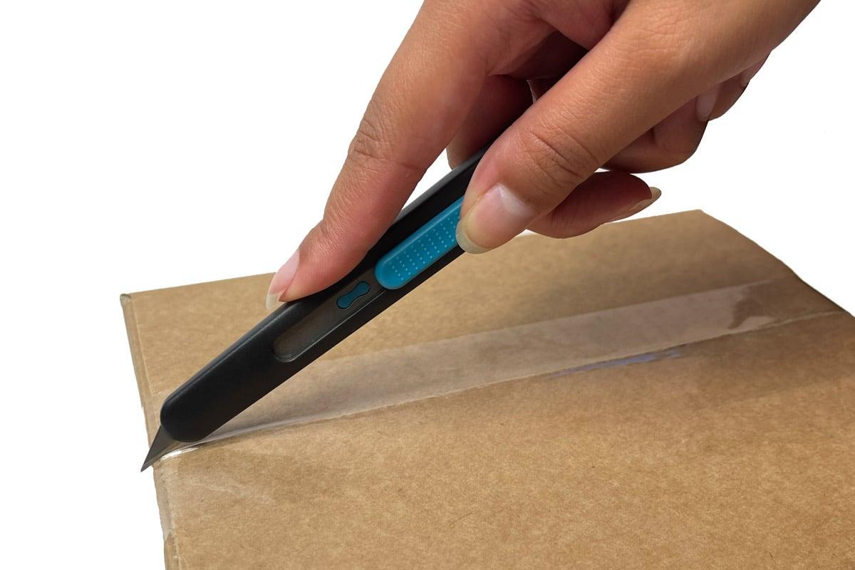 Veiligheidsmes 9mm + auto terugtrek  (PFK- 022) blauw
