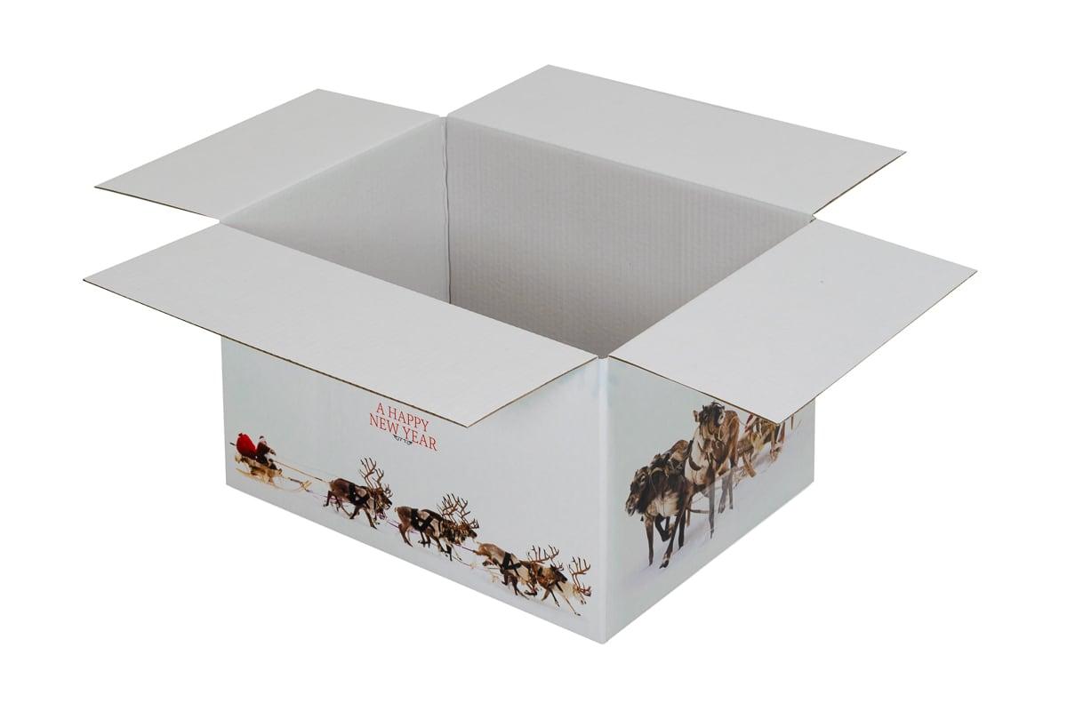 Kerstdoos wit Rudolph - 450 x 350 x 230mm