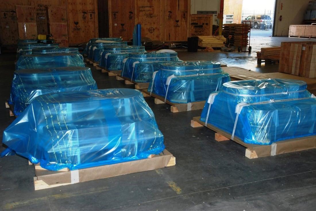 VCI vlakke folie (corrosiewerend) transparant blauw - 200cm x 100m x 100my