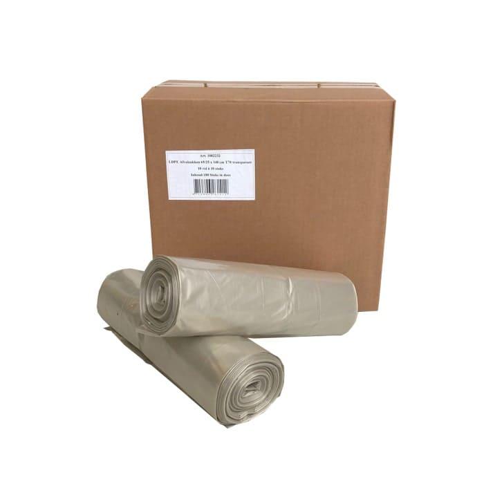 LDPE afvalzakken transparant 240 liter - 65 x 25/25 x 140cm x 70my (100 st)