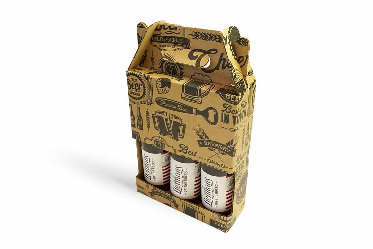 Bier draagdoos voor 3 flessen - 180 x 60 x 235mm