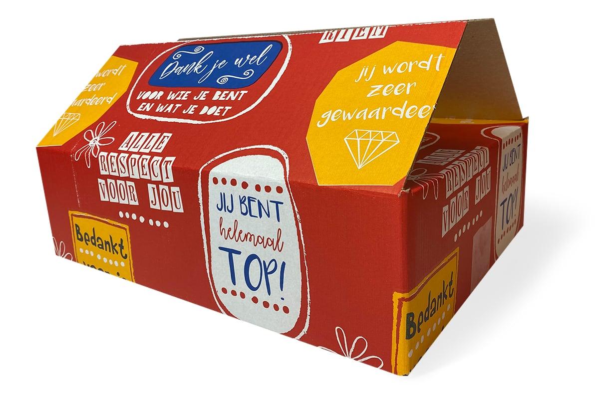 Kartonnen geschenkdoos rood ''bedankt'' - 390 x 290 x 105mm